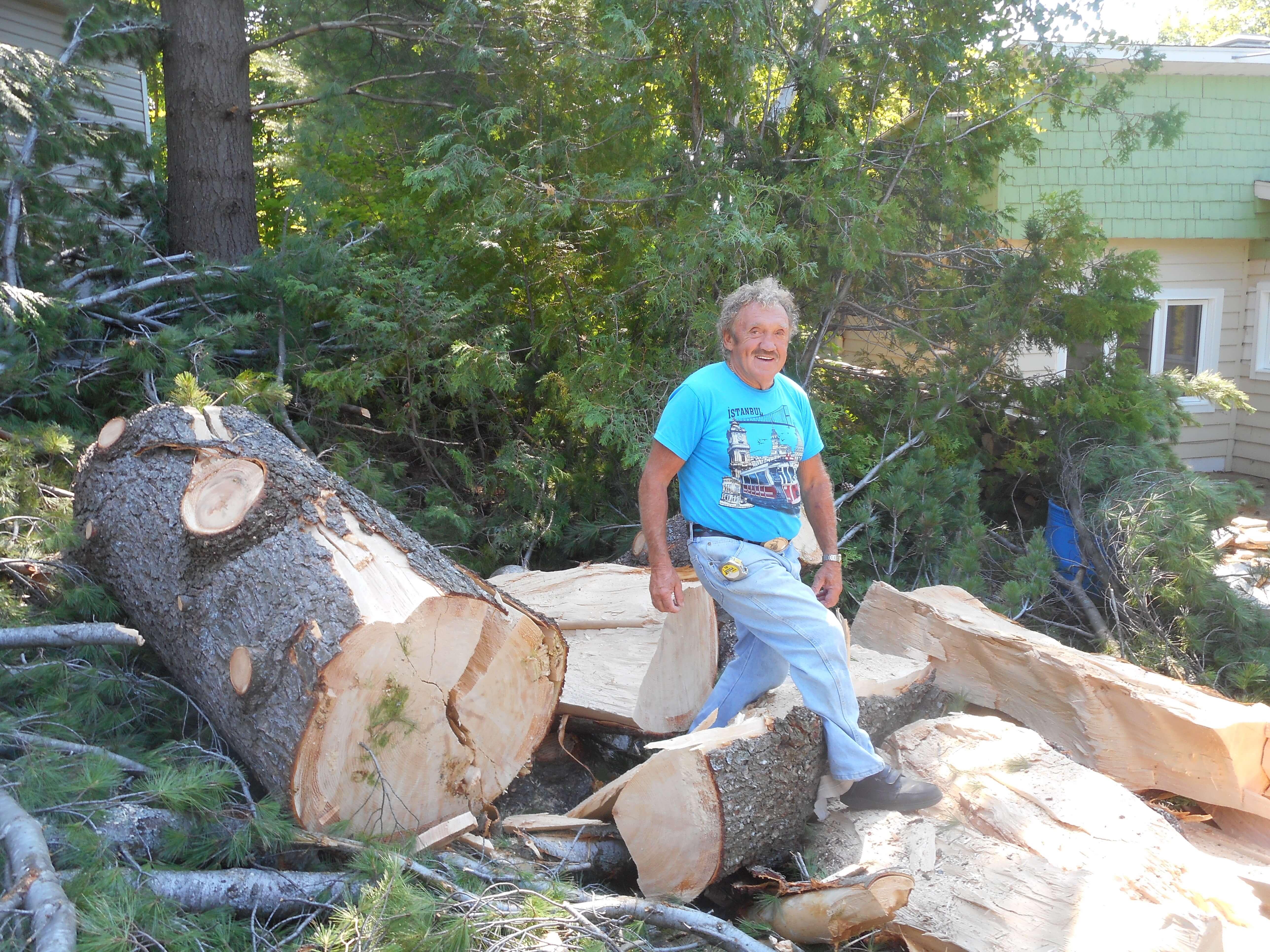 Gilles Deslauriers au milieu des rondins du pin blanc centenaire ayant été frappé par la foudre dans la nuit du 7 juillet 2018. L'arbre était situé tout près de sa résidence et a été débité rapidement par des travailleurs d'Hydro-Québec.