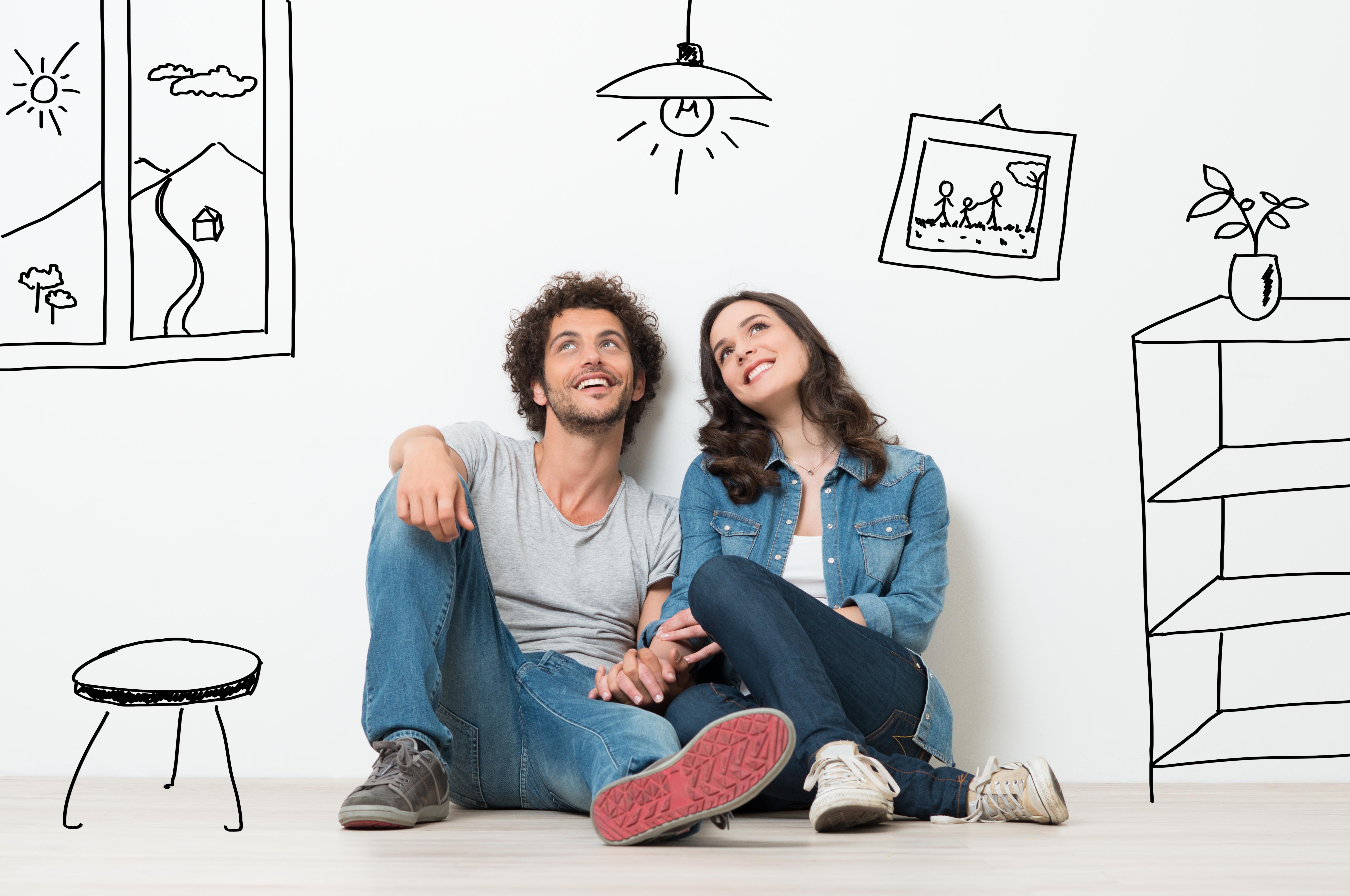 couple dessin maison appartement tapisserie