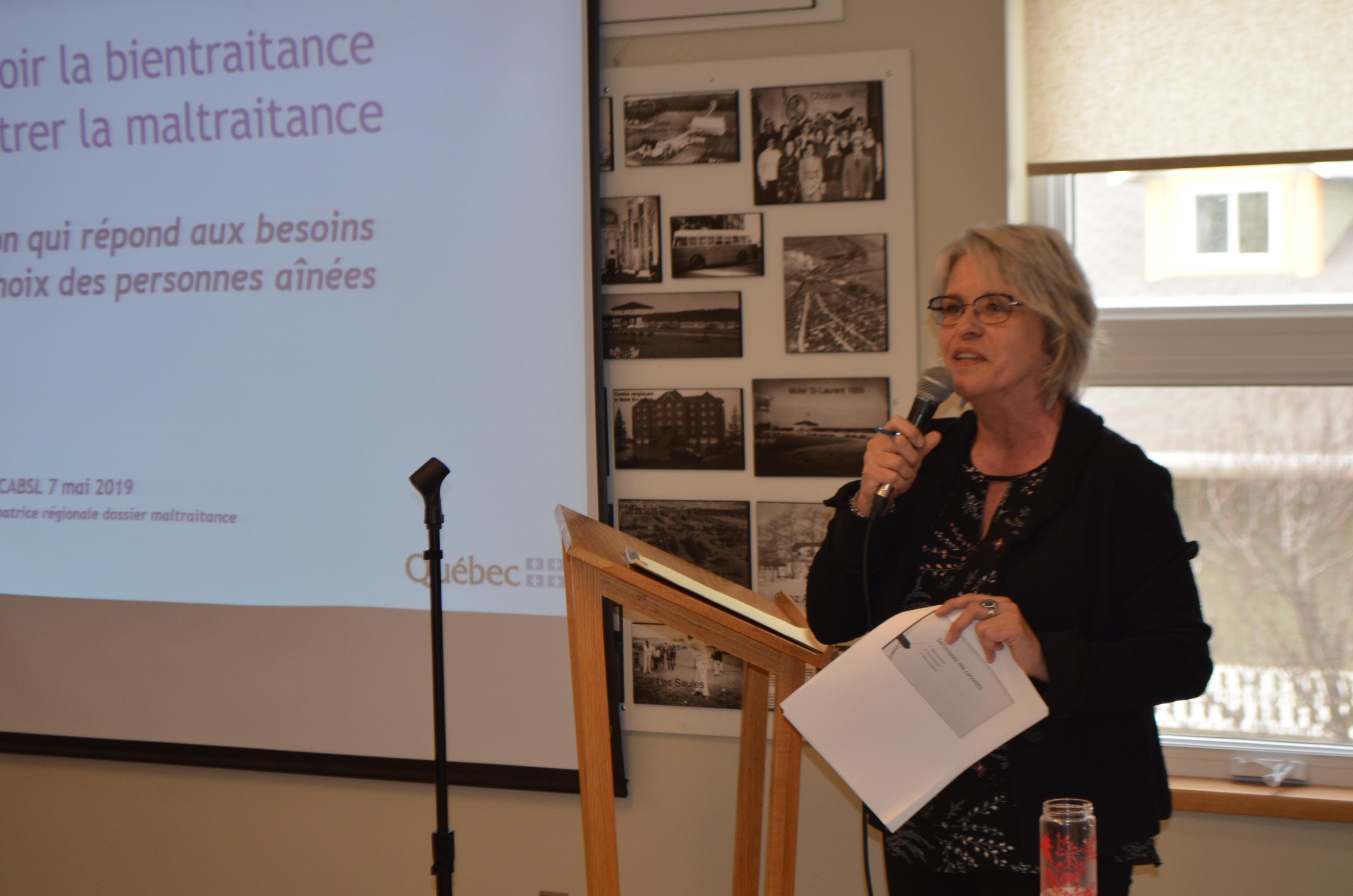 Linda Bérubé, coordonnatrice régionale spécialisée en matière de maltraitance envers les personnes aînées au Bas-Saint-Laurent, CISSS du Bas-Saint-Laurent, Direction de la santé publique.