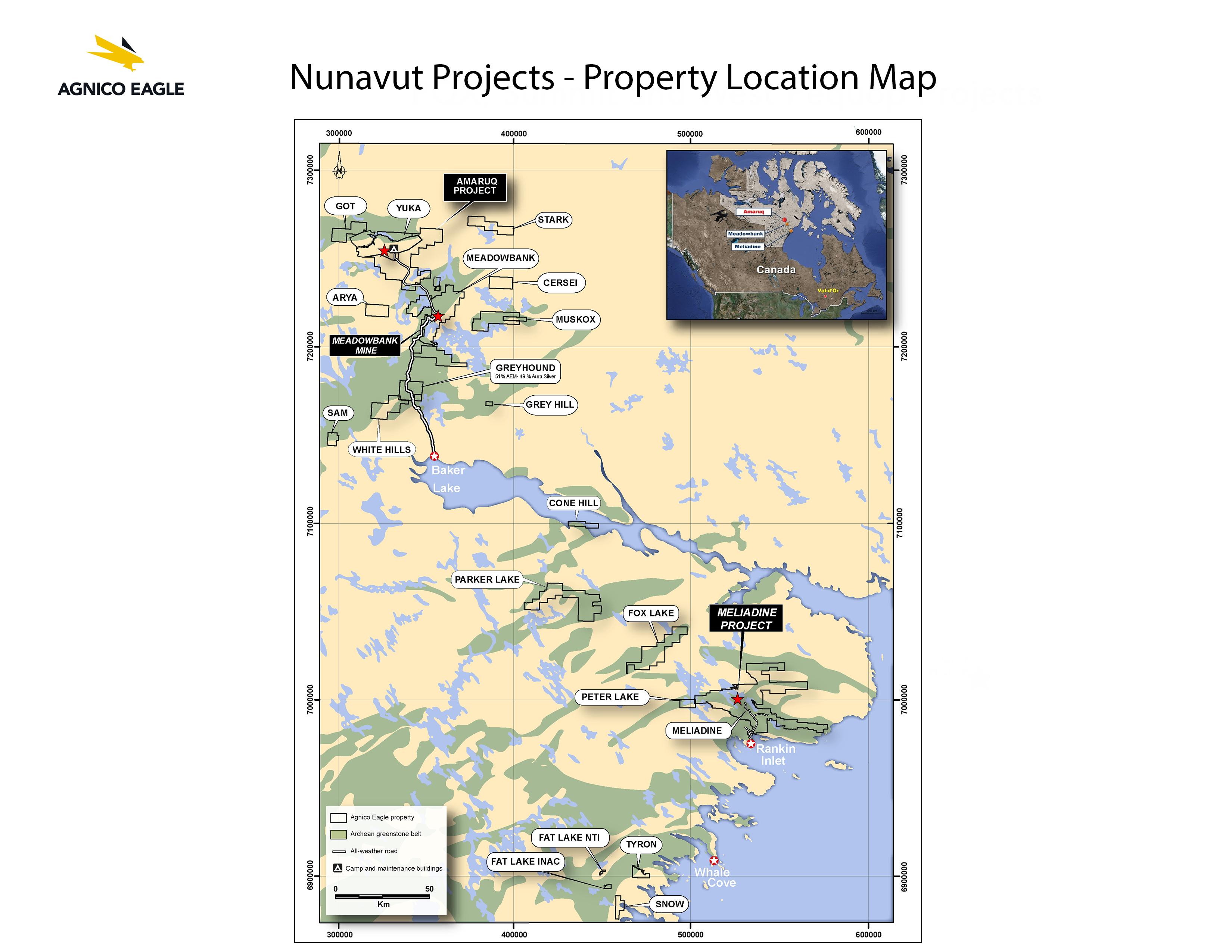 Carte Nunavut projets Agnico Eagle