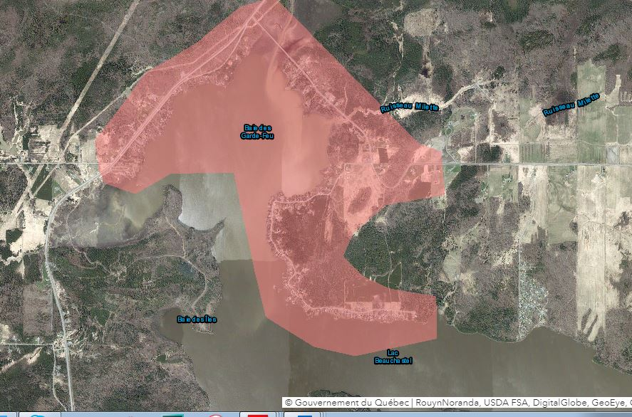 Carte ZIS Rouyn-Noranda inondation zone exclusion