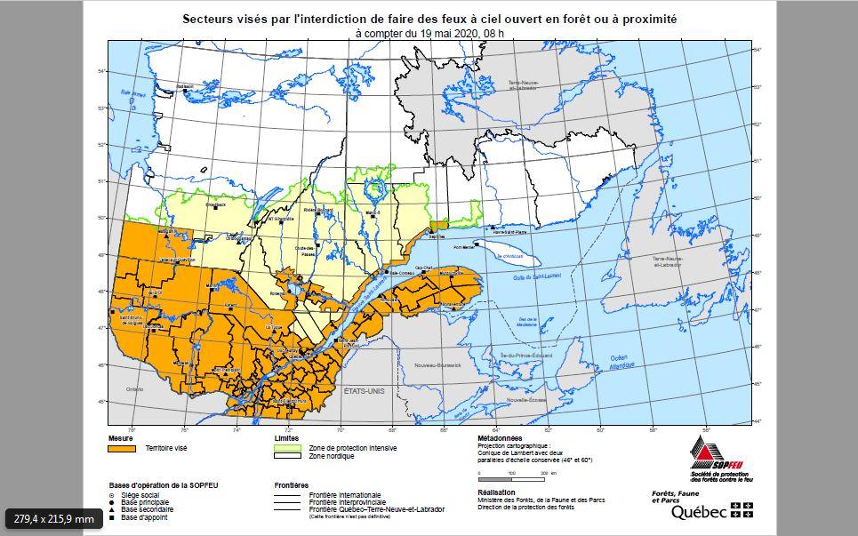 Sur cette carte, l'ensemble des régions visées par cette interdiction de faire des feux à ciel ouvert en forêt ou à proximité.