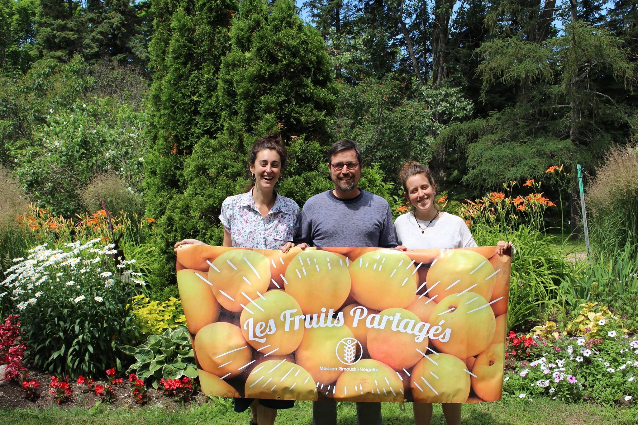 L'équipe des Fruits Partagés pour 2019, Marianne Poirier, Mathieu Boyd et Patricia Doré.