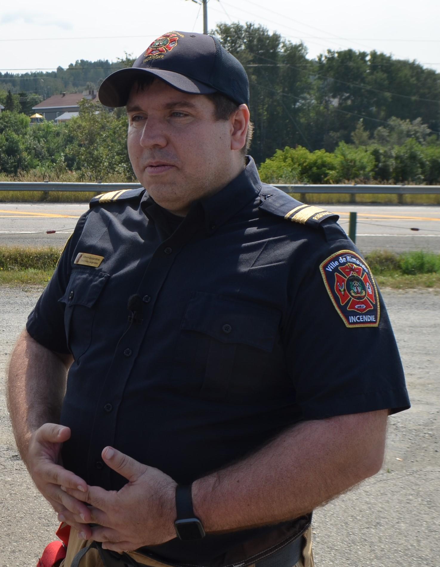 Simon Desjardins, chef de la division des opérations du Service de sécurité incendie à la Ville de Rimouski. Fuite propane Bic.