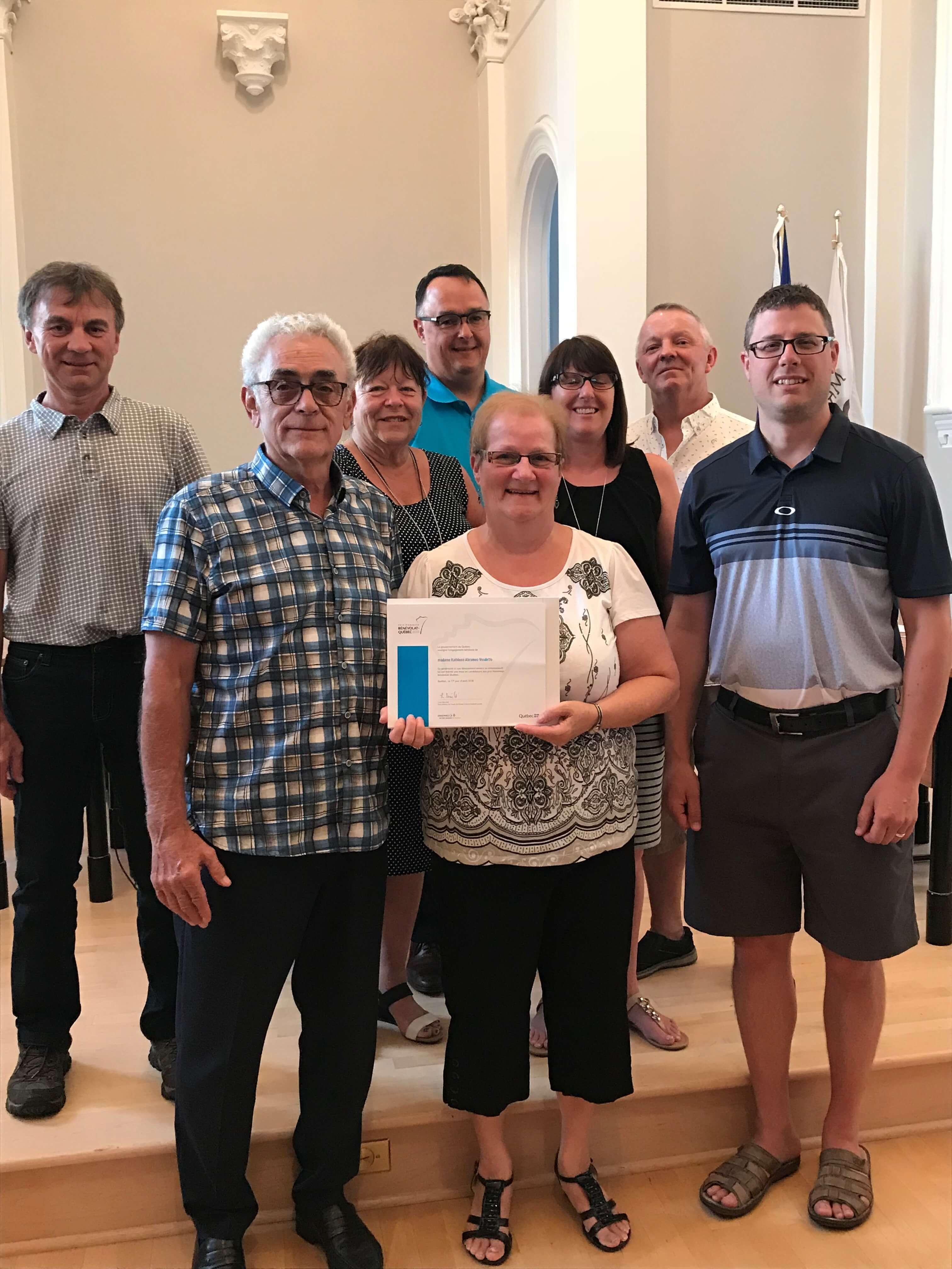 Remise de certificat honorifique à Saint-Roch-de-l'Achigan