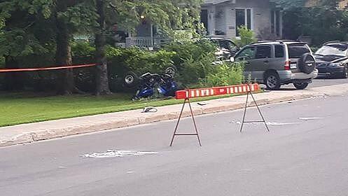 Une voiture et un VTT sont entrés en collision à Notre-Dame-des-Prairies le 10 juillet 2018.