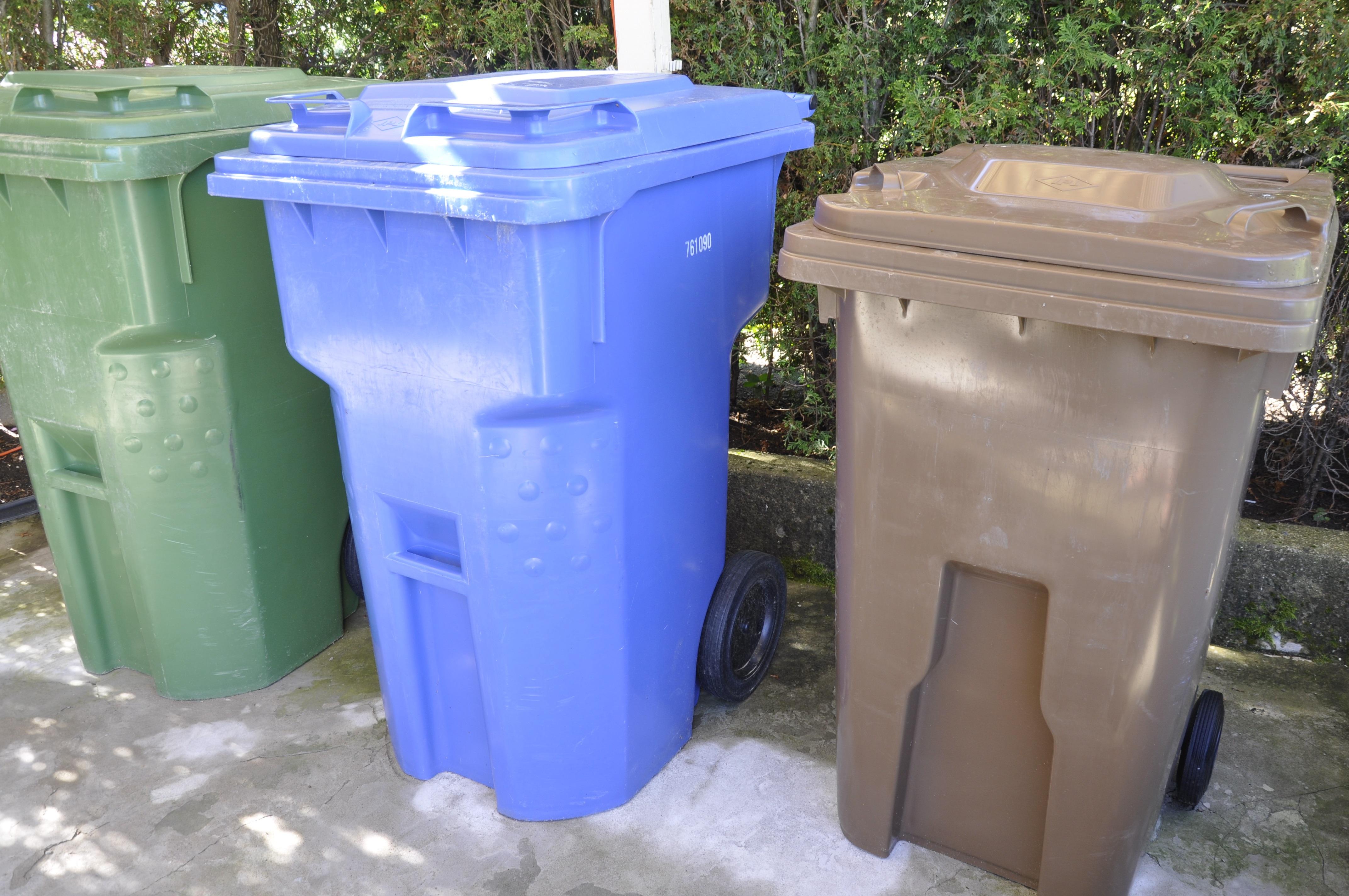 Bacs de déchets, de recyclage et de compostage. Collecte de matières résiduelles.