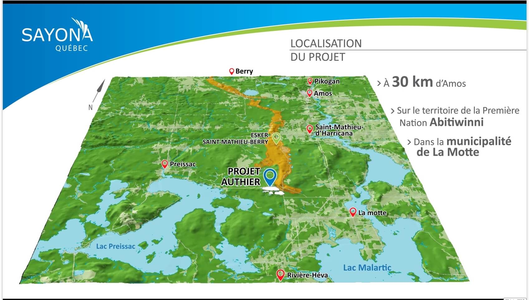 Sayona Projet Authier Localisation
