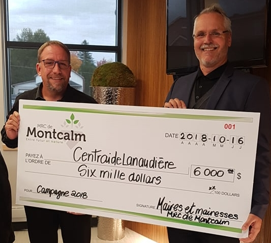Remise chèque montant remis à Centraide Lanaudière