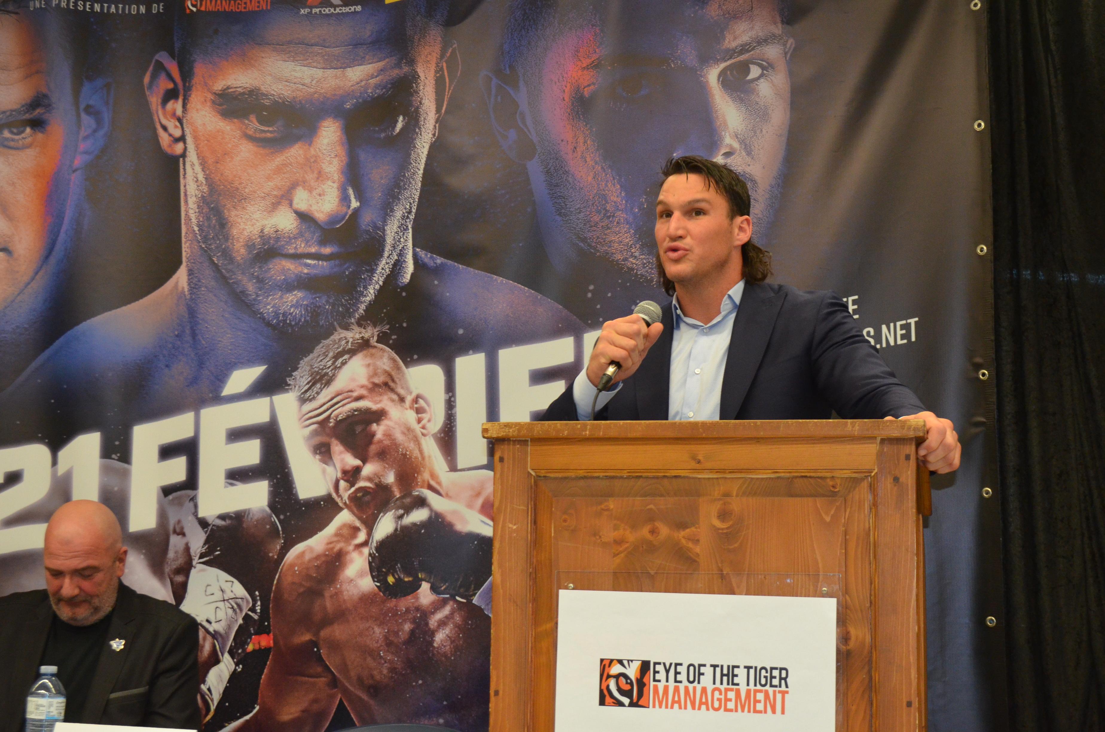 David Lemieux lors de la conférence de presse annonçant ce gala de boxe à Rimouski le 7 janvier 2020.