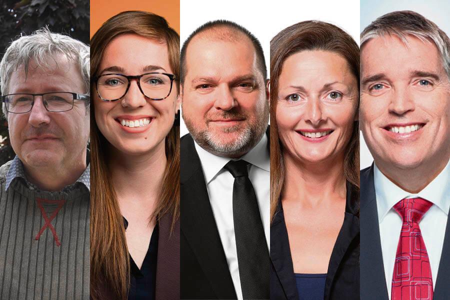: Denis Bélanger (indépendant), Carol-Ann Kack (Québec solidaire), Claude Laroche (Parti libéral du Québec), Harold LeBel (Parti québécois), Nancy Levesque (Coalition avenir Quebec)