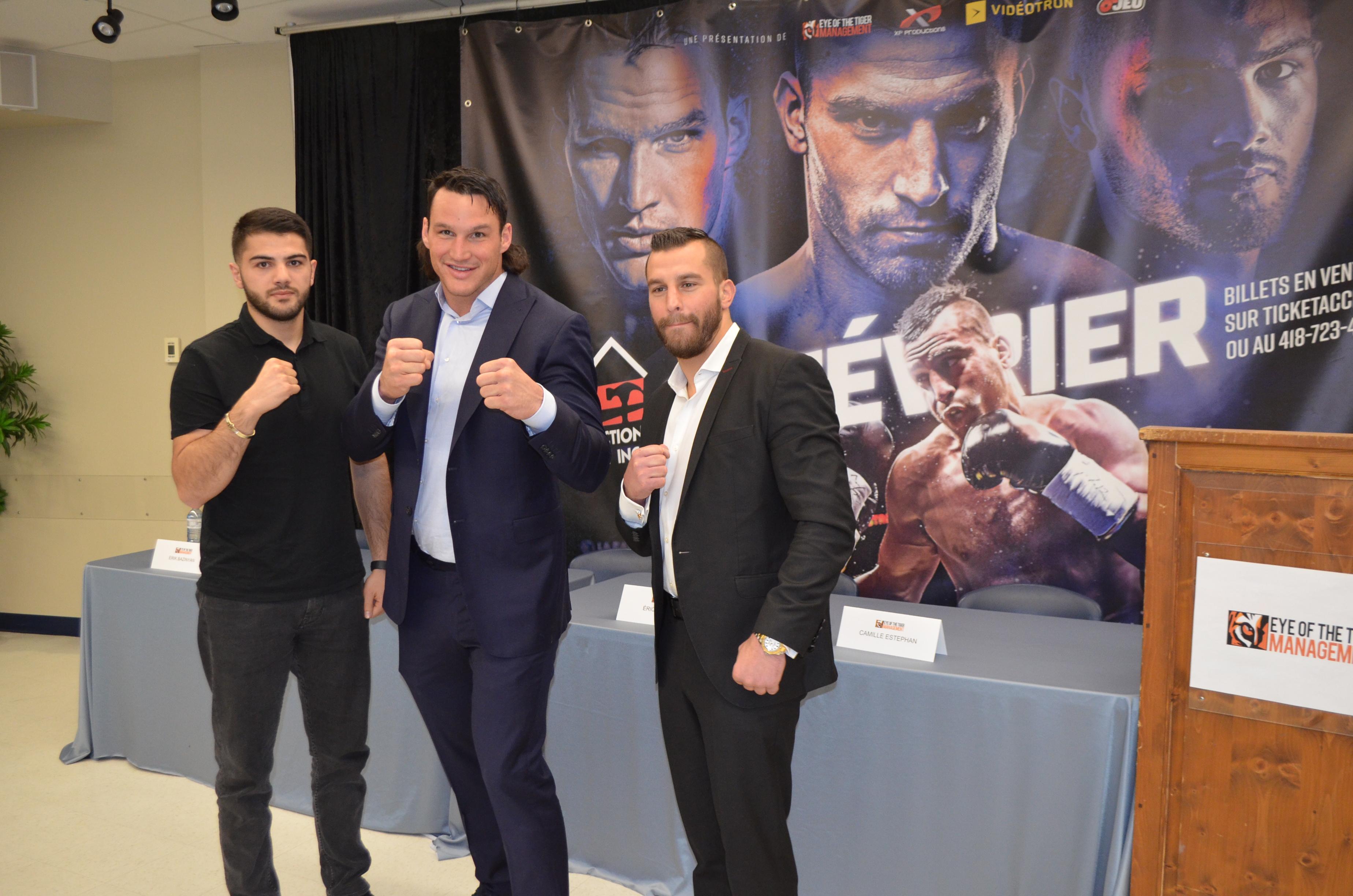 Les boxeurs Érik Bazinyan, Simon Kean et David Lemieux