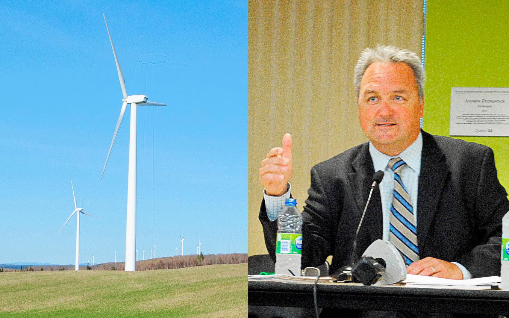 Industrie éolienne énergies renouvelables Jérôme Landry maire de Matane