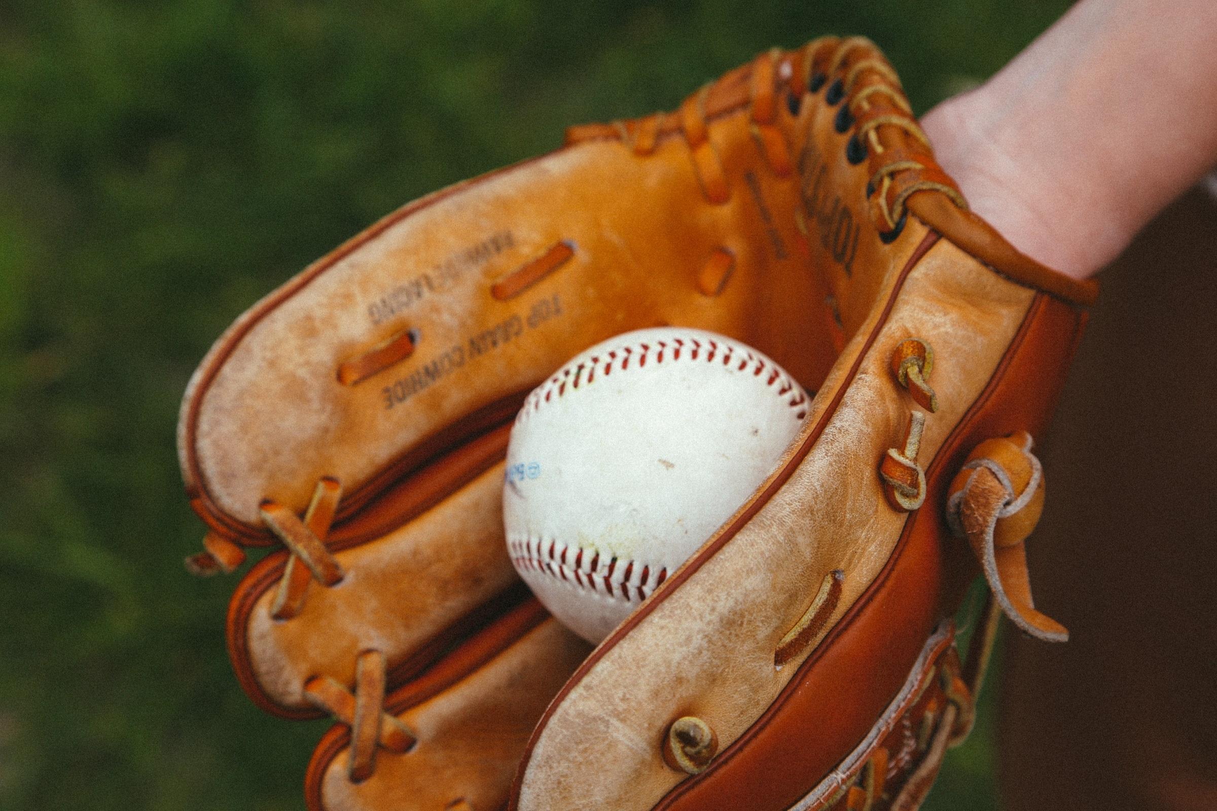 Baseball, balle, gant.