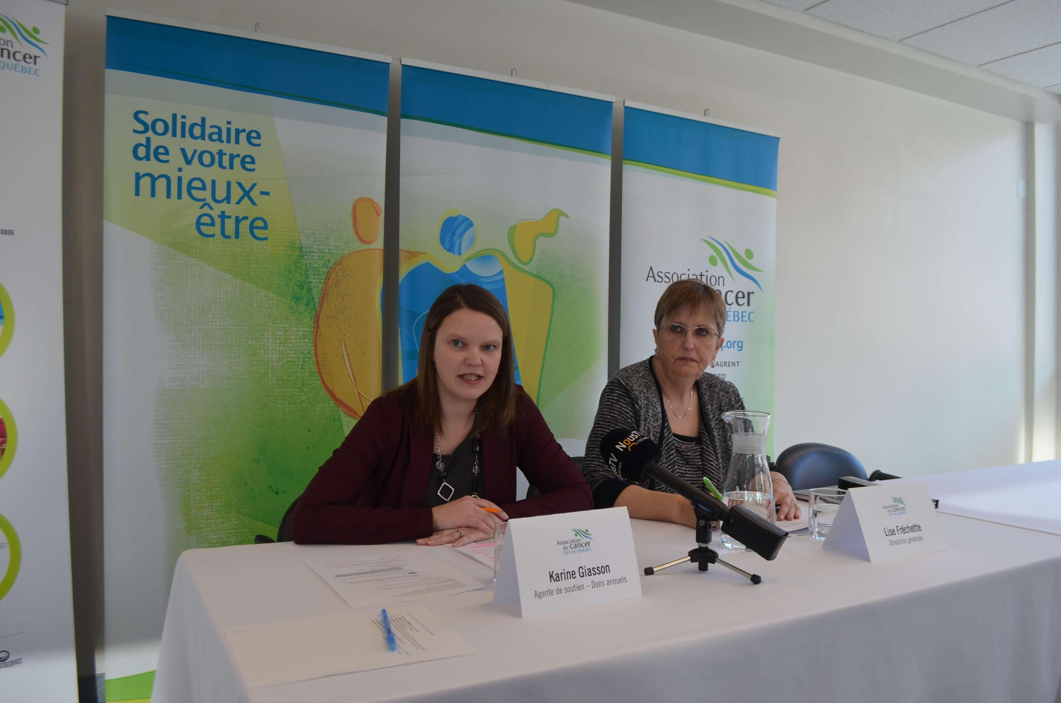 Karine Giasson, agente de soutien – dons annuels et responsable de la loterie et Lise Fréchette, directrice générale de l'ACEQ.