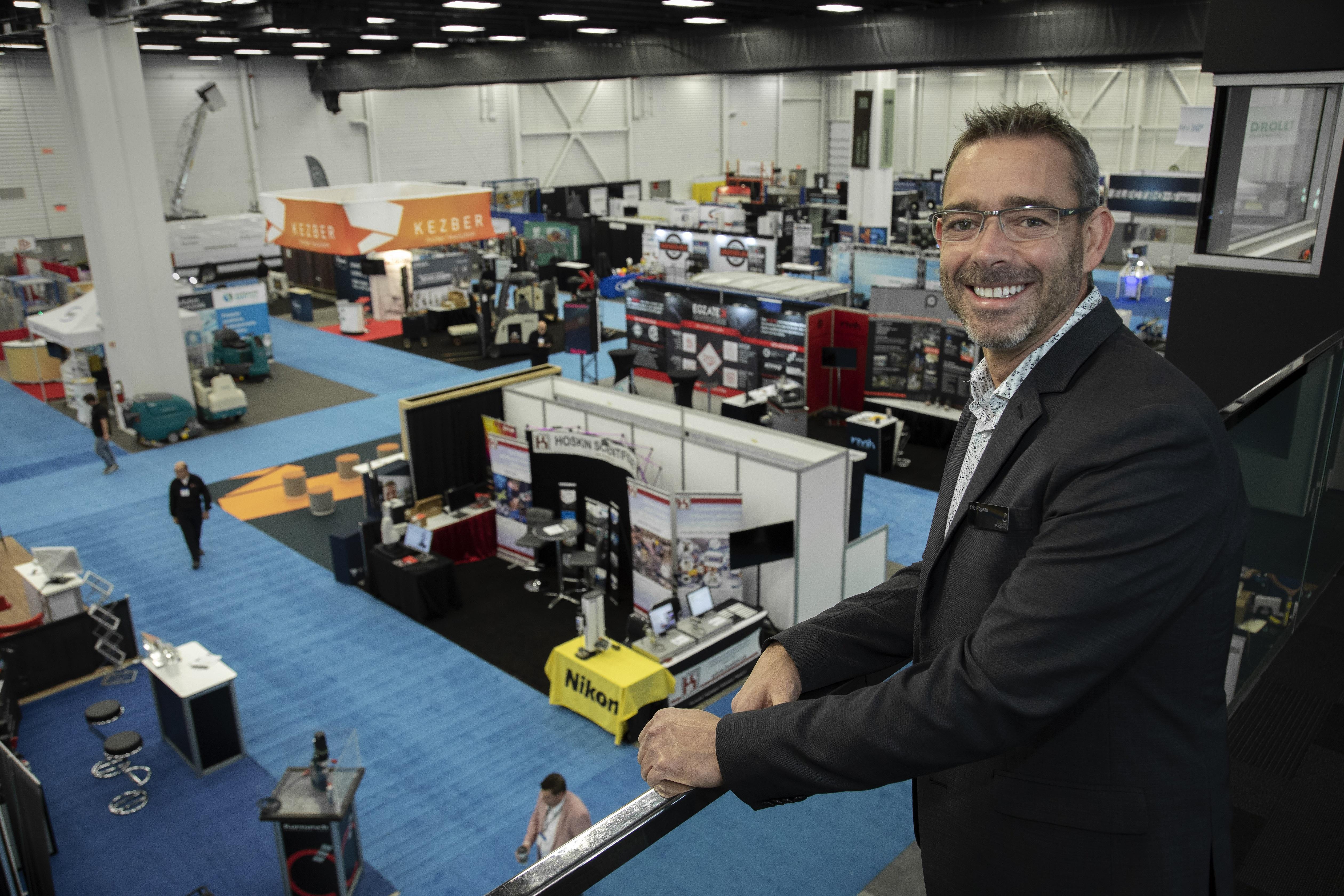 Éric Pageau, président du Groupe Pageau et promoteur des Salons industriels au Québec, lors d'un événement en 2019.