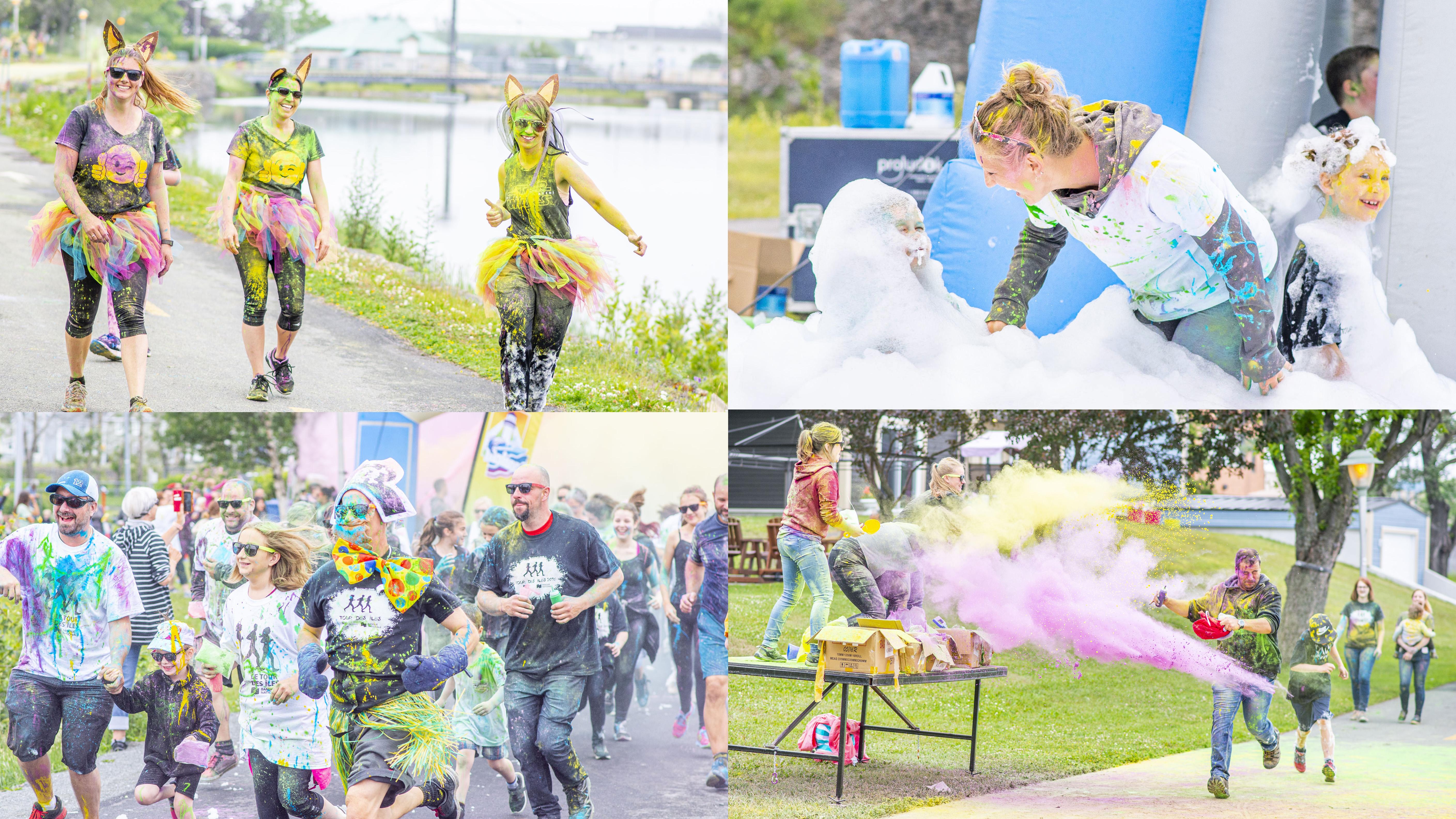 Course colorée Tour des Îles Matane éclaté course des couleurs