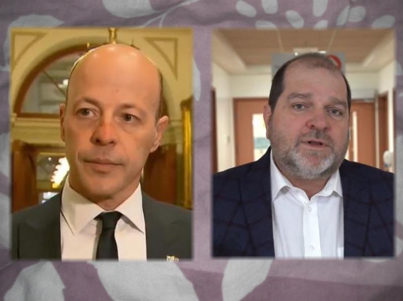 Les députés du Parti Québécois, Joël Arsenault et Harold LeBel.