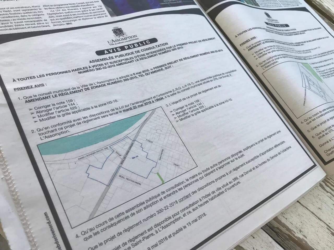 L'Assomption cesse la publication d'avis publics dans les journaux
