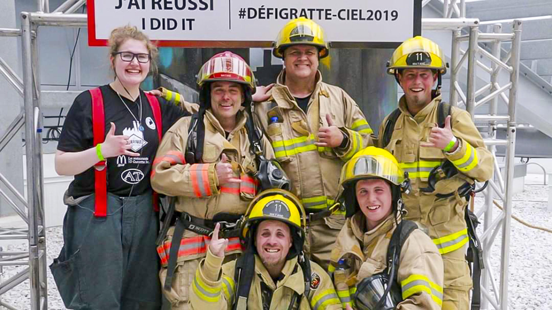 Défi gratte-ciel crinqués de la 11 pompiers Matane