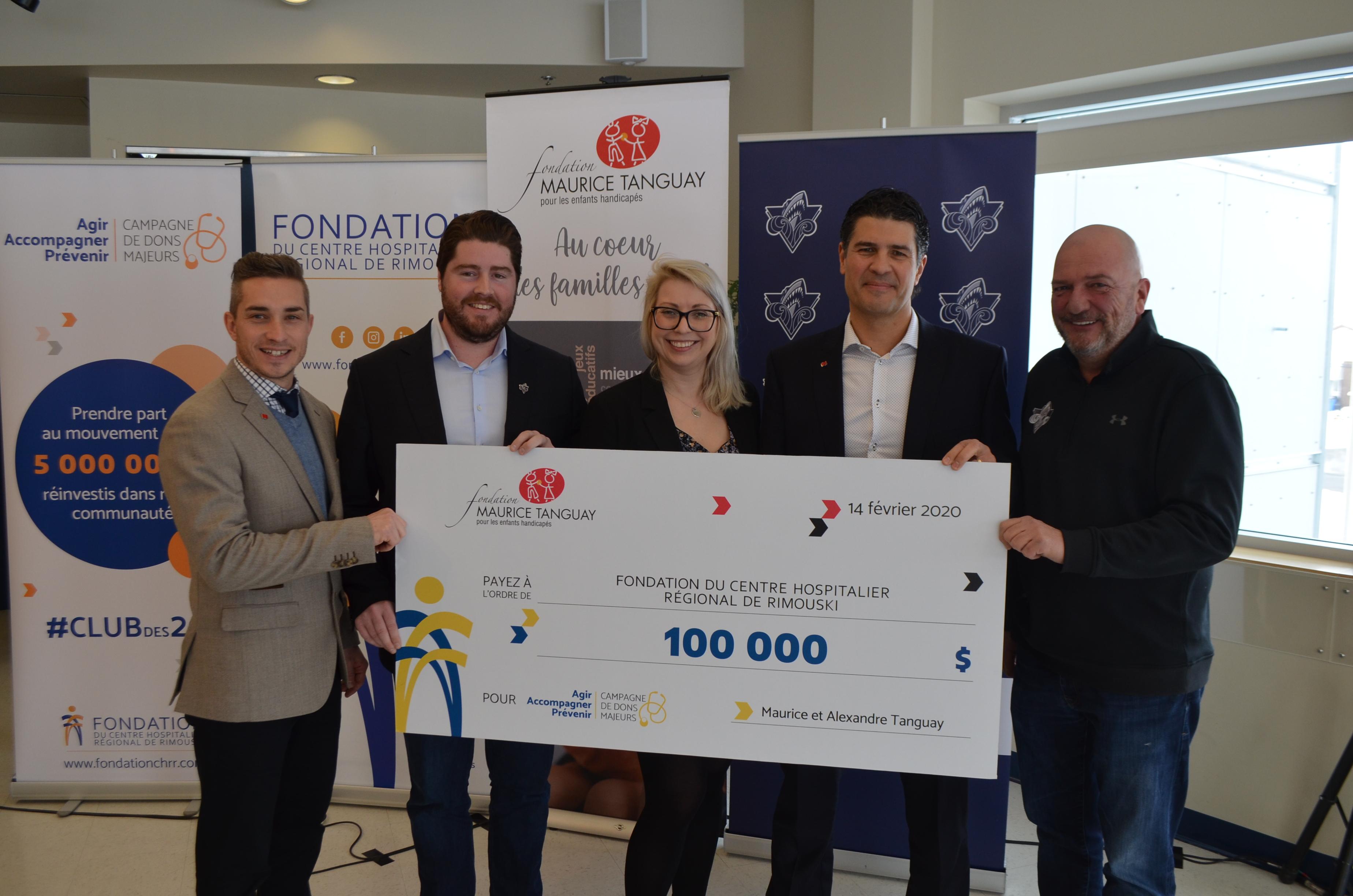 La Fondation Maurice Tanguay remet 100000 $ dans le cadre de la campagne majeure de financement du Club des 20.