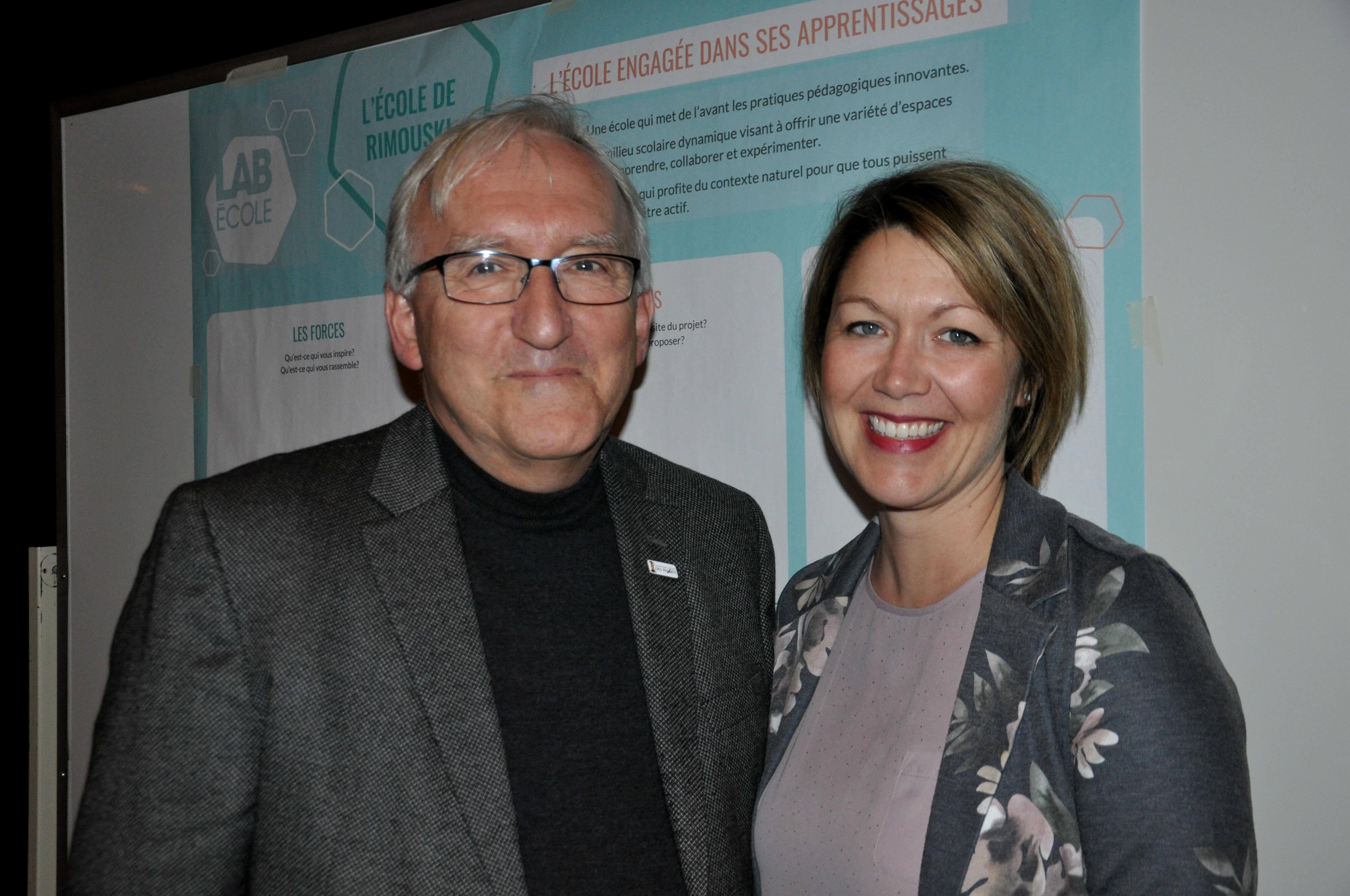 Gaston Rioux et la future directrice de la nouvelle école, Marie-Hélène Gagné.