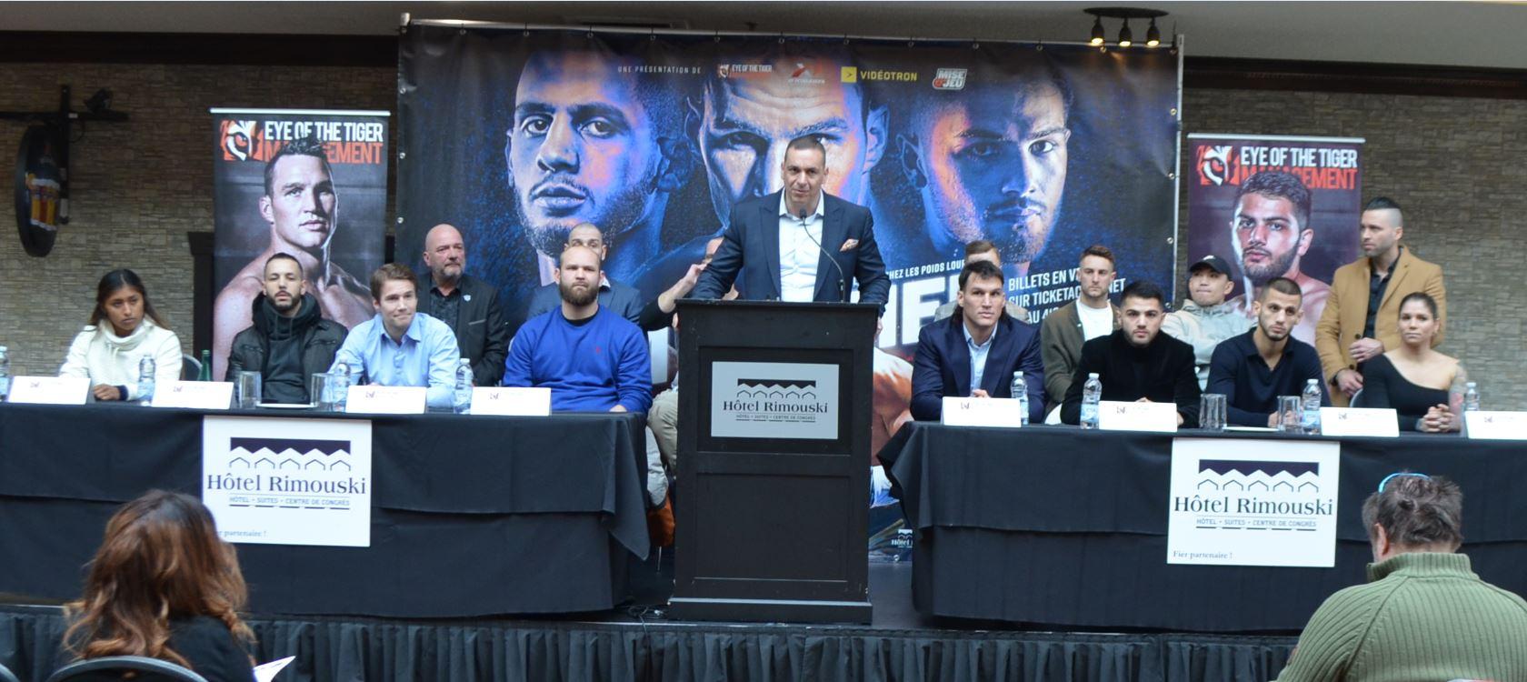 Présentation ce jeudi à l'Hôtel Rimouski, de l'ensemble des boxeurs qui prendront part à cet événement d'envergure.