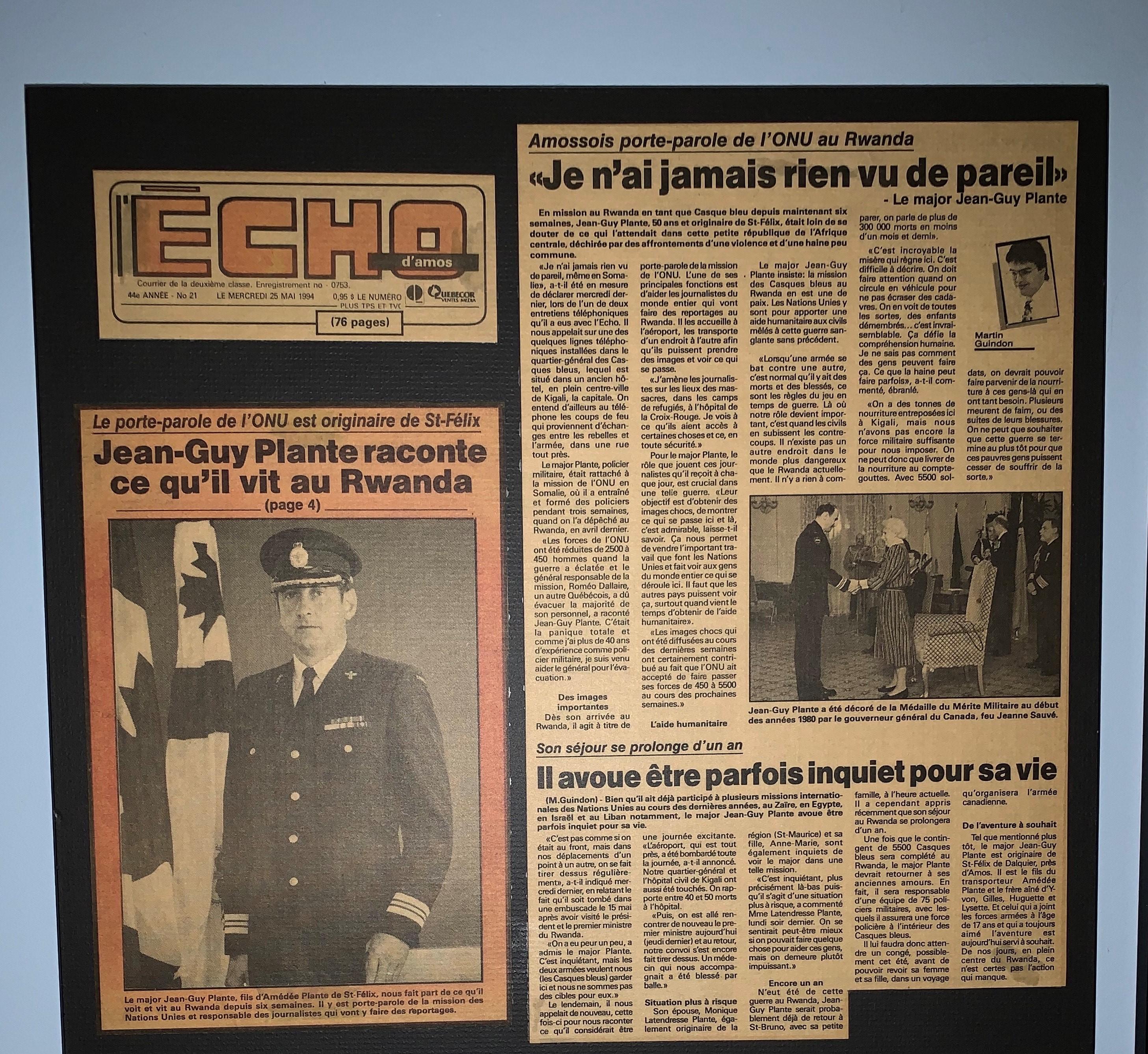 Major Jean-Guy Plante article Echo