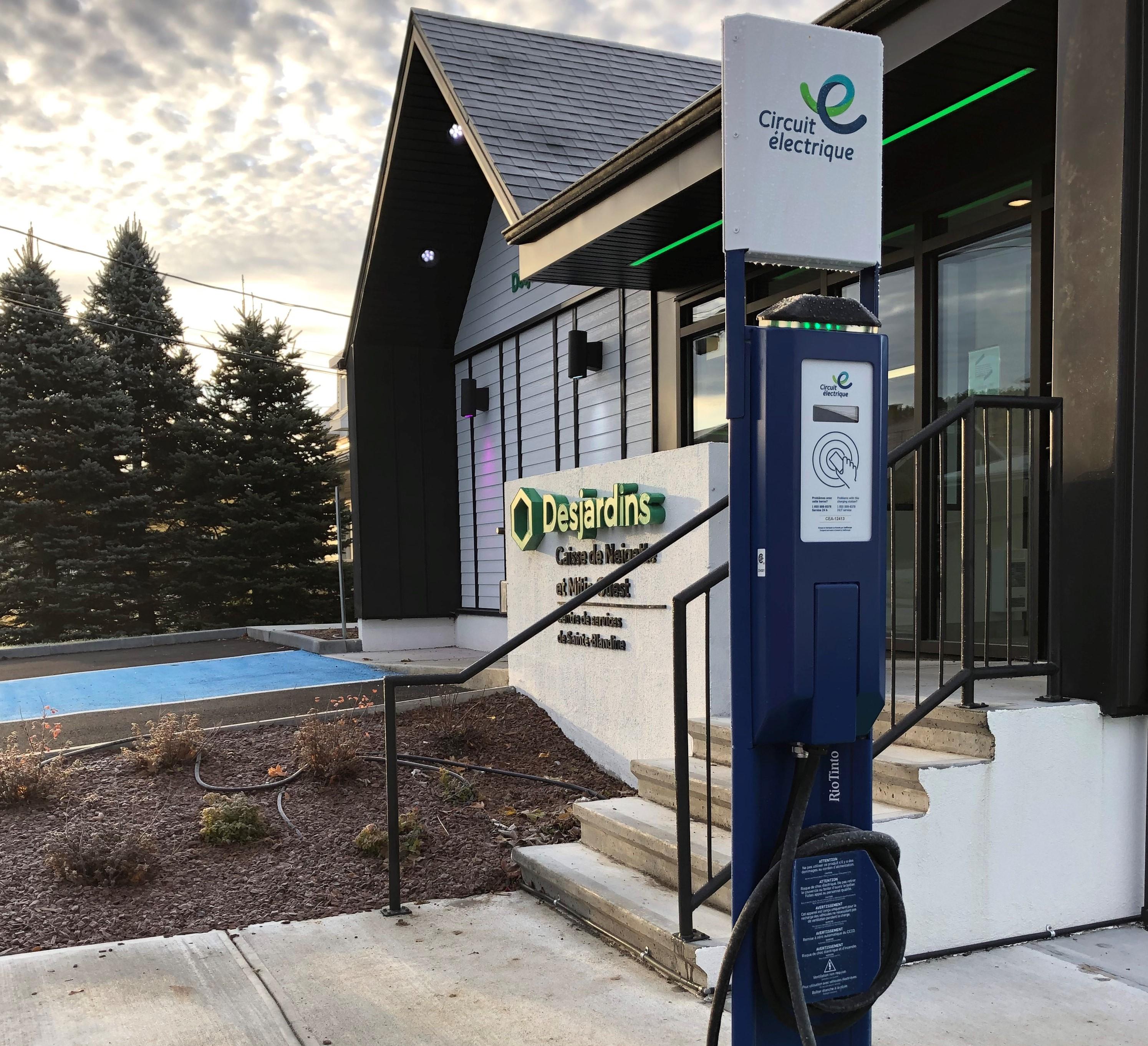 La Caisse Desjardins de Neigette et Mitis-Ouest annonce l'installation d'une borne électrique à Sainte-Blandine.